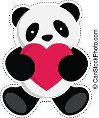 Panda holding heart. Vector illustration.