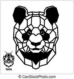 panda., hoofd, lineair, abstract, polygonal, vector.