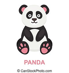 Panda icon cartoon. Singe animal icon from the big animals set.