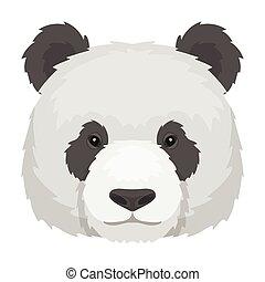 Panda icon in cartoon style isolated on white background. Realistic animals symbol stock vector illustration.