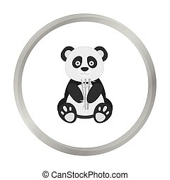 Panda icon in monochrome style isolated on white background. Japan symbol stock vector illustration.