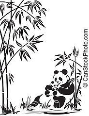 panda - Panda with a cub in bamboo thickets.