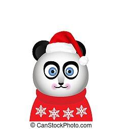 panda in a red winter sweater