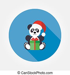 Panda in a santa hat with a gift