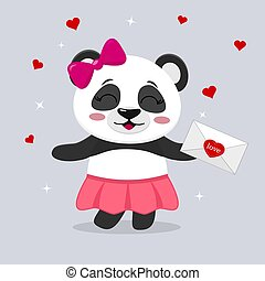 Panda in a skirt and with a pink bow holds a letter in paws,...
