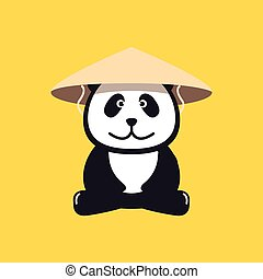 Panda in Chinese conical straw hat