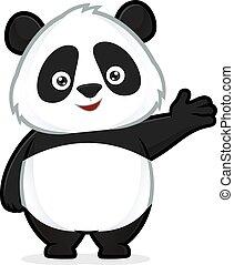 panda, in, dare benvenuto, gesto