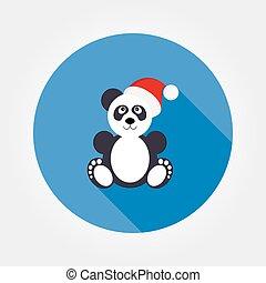 Panda in Santa hat