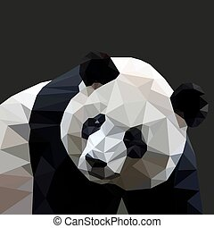 Panda in the style of low-poly on a black background. Vector illustration