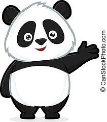 Clipart picture of a panda cartoon character in welcoming gesture