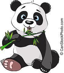 panda, jedzenie, bambus