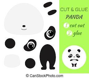 panda., jeu, pédagogique, papier, coupure, colle, préscolaire, children., bébé