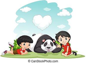 panda, jongen, meisje, aziaat, zittende