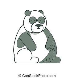 panda jungle animal in cartoon abstract design