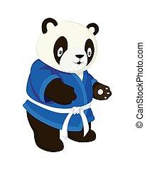 panda, karate, kimono., beeld, blauwe , stijl, witte , spotprent, achtergrond, vrijstaand