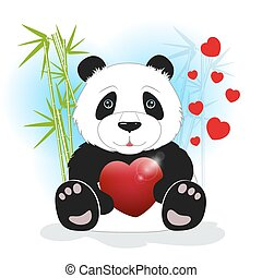 Panda sits among the bamboo and keeps the heart on a white background, behind bamboo stalks with hearts, vector illustration