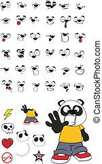 panda kid cartoon set2 - panda kid cartoon set in vector...