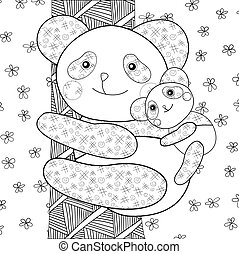 Panda kid coloring book page.