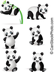 panda, kollektion, tecknad film