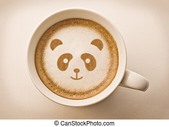panda face on latte art drawing coffee cup