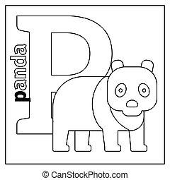 Panda Letter P Coloring Page