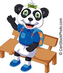 panda, lindo, silla, caricatura, sentado