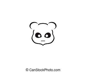 panda logo black and white head