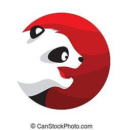 Panda Logo Illustration Vector in Flat Style