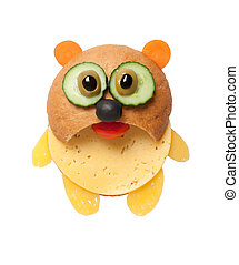 Panda made of bread and cheese on white background