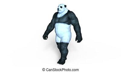 Panda man - 3D CG rendering of a panda man.