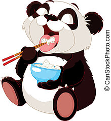 panda, manger, mignon, riz