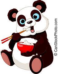 panda, manger, riz