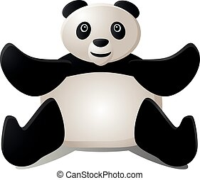 panda, mani in alto, due, seduta