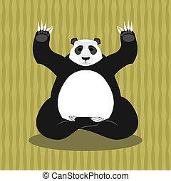 Panda meditating. Chinese bear on background of bamboo. Status of nirvana and enlightenment. Lotus Pose. Wild Animal Yoga