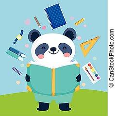 panda, mignon, lecture, dos, education, livre, école