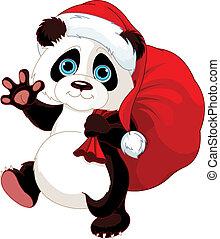 panda, mit, a, sack, voll, von, geschenke
