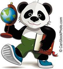 panda, mit, erdball