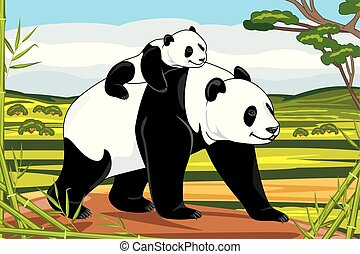Panda mom and her baby on a landscape background
