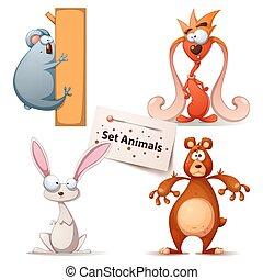Panda, monster, rabbit, bear - set animals.