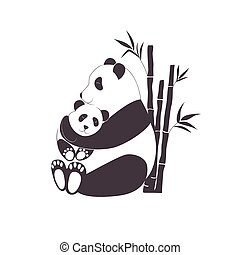 Panda mother hugging baby panda, love between mom and her child, caring and nursery concept