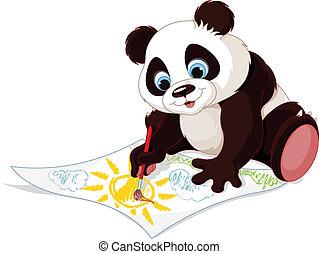 panda, obraz, sprytny, rysunek