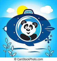 Panda on a submarine - Panda explores the ocean in a...