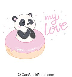 Panda on donuts on white background. Vector illustration.