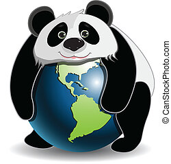 Panda on the globe