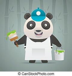 Panda painter holds brush bucket of paint