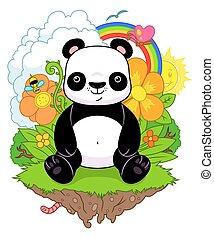panda, plano de fondo, naturaleza