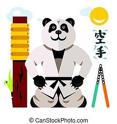 panda., plat, stijl, illustration., kleurrijke, karate, vector, spotprent