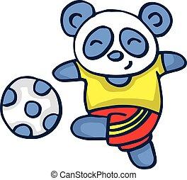 Panda playing football vector illustration