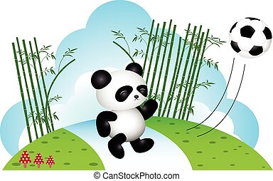 Panda playing soccer