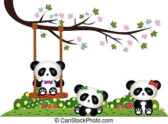 Panda playing under tree branch